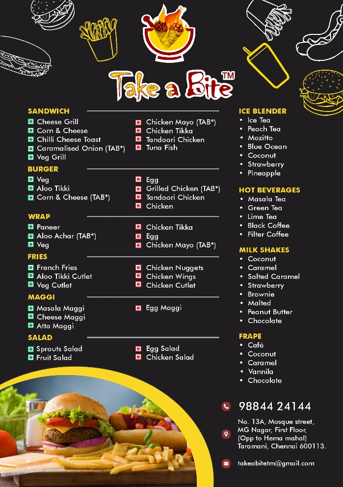 The menu at Take A Bite