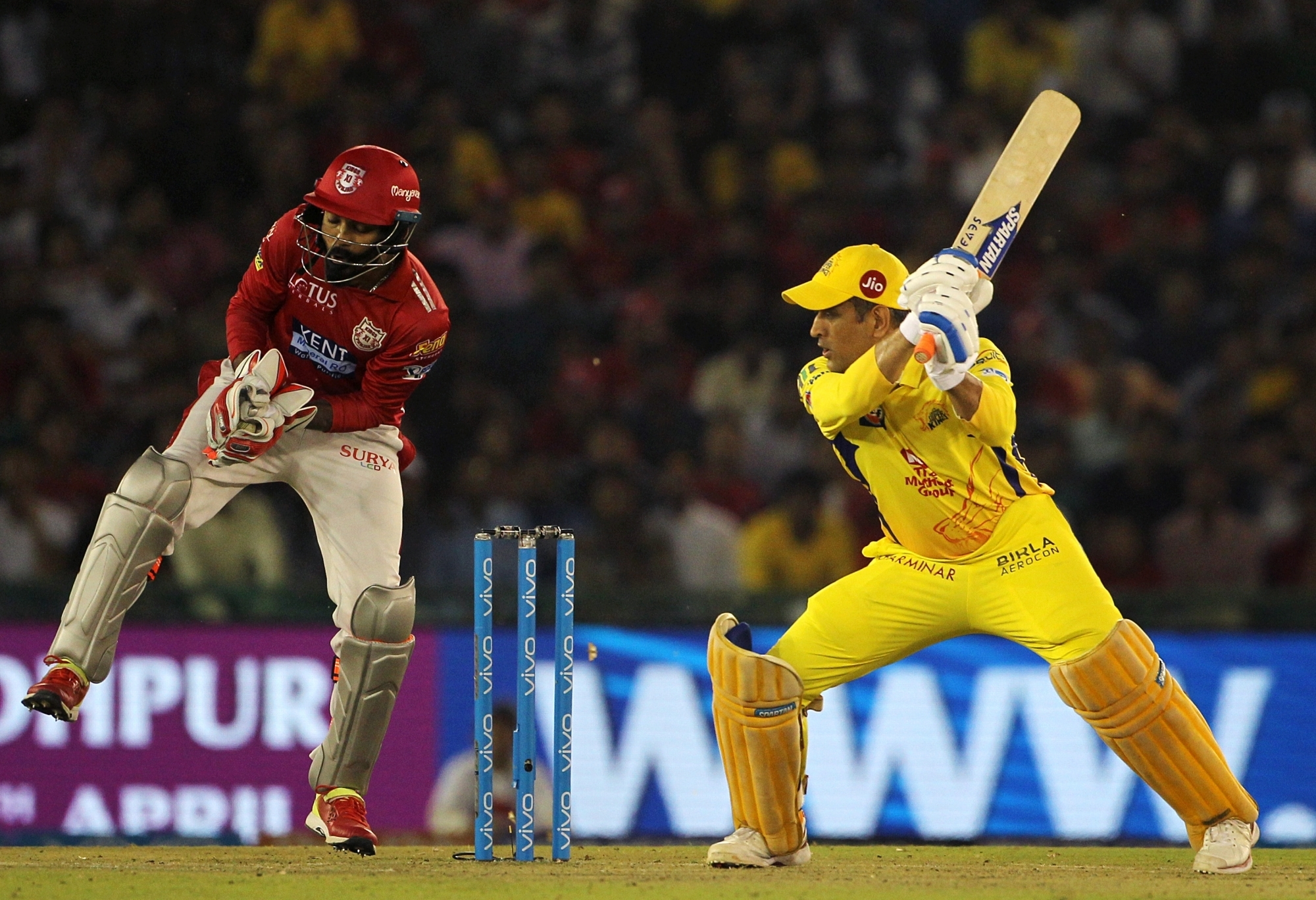 Mohali: MS Dhoni of Chennai Super Kings in action during an IPL 2018 match between Kings XI Punjab and Chennai Super Kings at the Punjab Cricket Association IS Bindra Stadium in Mohali on April 15, 2018. (Photo: Surjeet Yadav/IANS)