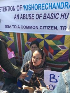 Kishorechandra's wife Ranjita at the sit-in protest in Imphal on November 30 demanding her husband's release from custody.